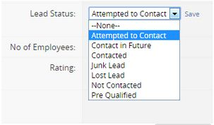 Lead Detail Screen - Attempt to contact