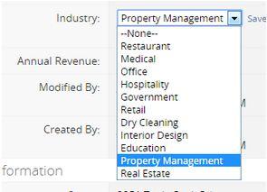 Lead Detail Screen - Industry